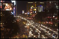 Congested foot and car traffic on Las Vegas Boulevard on Saturday night. Las Vegas, Nevada, USA
