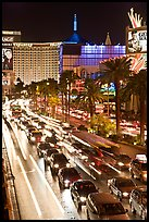 Las Vegas Strip traffic by night. Las Vegas, Nevada, USA