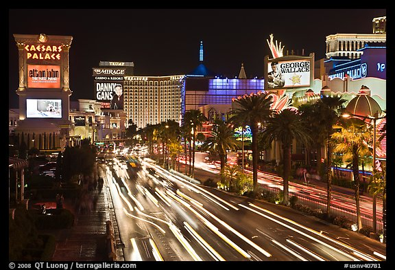 Hotels and Las Vegas Strip by night. Las Vegas, Nevada, USA (color)
