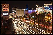 Hotels and Las Vegas Strip by night. Las Vegas, Nevada, USA