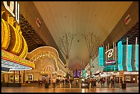 Pedestrian, canopy-covered section of Fremont Street. Las Vegas, Nevada, USA