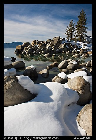 Snowy lakeshore, Lake Tahoe-Nevada State Park, Nevada. USA (color)
