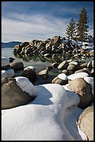 Snowy lakeshore, Lake Tahoe-Nevada State Park, Nevada. USA ( color)