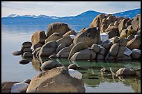 Boulders and lake in winter, Lake Tahoe-Nevada State Park, Nevada. USA