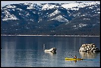 Kakak and mountains in winter, Sand Harbor, Lake Tahoe-Nevada State Park, Nevada. USA