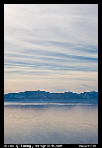 Blue mountains and clouds, winter, Lake Tahoe, Nevada. USA (color)