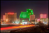 Illuminated casinos and freeway at night. Reno, Nevada, USA ( color)