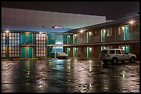 Motel on rainy night. Reno, Nevada, USA ( color)
