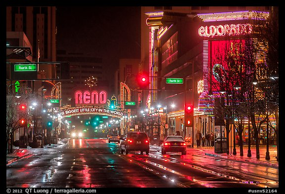 Downtown at night. Reno, Nevada, USA (color)
