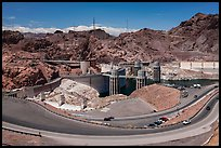 Dam with US 93 route traffic prior to bypass. Hoover Dam, Nevada and Arizona ( color)