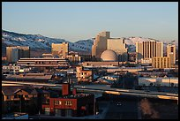 Reno skyline, early morning winter. Reno, Nevada, USA (color)
