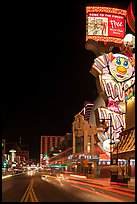 Giant neon sign on main street at night. Reno, Nevada, USA (color)