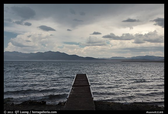 Deck, incoming storm. Pyramid Lake, Nevada, USA (color)