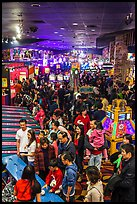 Crowds in Midway of Fun, Circus Circus. Reno, Nevada, USA (color)