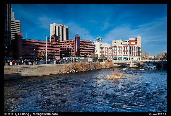 Truckee river and downtown buildings. Reno, Nevada, USA (color)