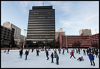 Ice rink and city hall. Reno, Nevada, USA (color)