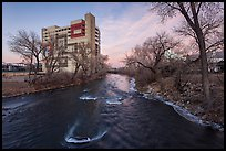 Truckee river, winter sunset. Reno, Nevada, USA ( color)