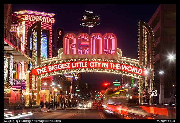 Virginia Street and Reno Arch with lights. Reno, Nevada, USA (color)