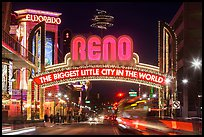 Virginia Street and Reno Arch with lights. Reno, Nevada, USA ( color)