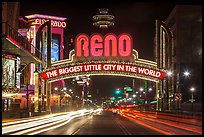Reno Arch at night with light trails. Reno, Nevada, USA (color)