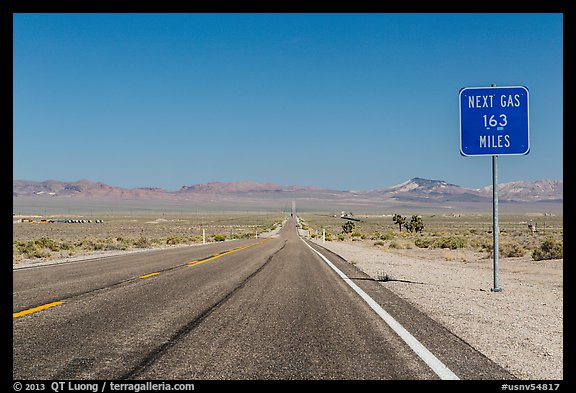 Highway and Next Gas 163 miles sign. Nevada, USA (color)