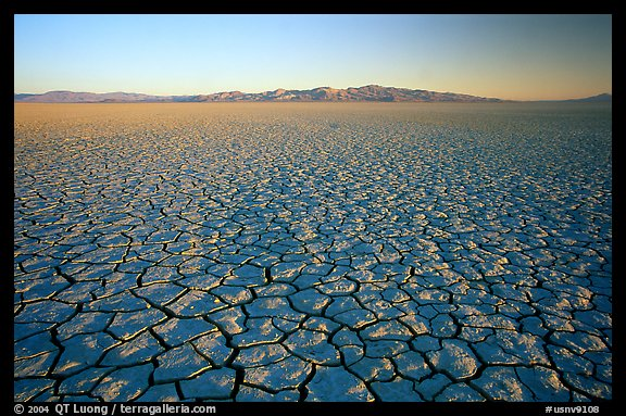 Ancient lakebed with cracked dried mud, sunrise, Black Rock Desert. Nevada, USA (color)