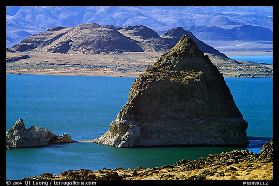 Pyramid in Pyramid Lake. Nevada, USA (color)