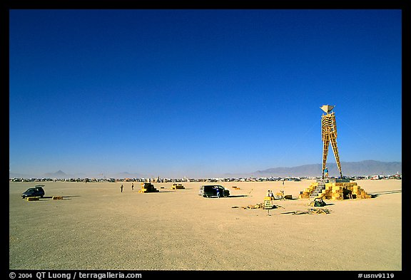The Man, a symbolic sculpture burned at the end of the Burning Man festival, Black Rock Desert. Nevada, USA (color)