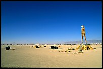 The Man, a symbolic sculpture burned at the end of the Burning Man festival, Black Rock Desert. Nevada, USA