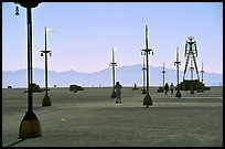 Art installations in the desert, Black Rock Desert. Nevada, USA (color)