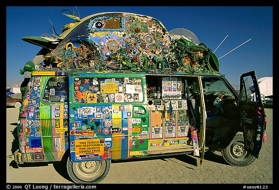 Decorated WV bus, Black Rock Desert. Nevada, USA (color)