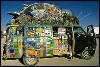 Decorated WV bus, Black Rock Desert. Nevada, USA ( color)
