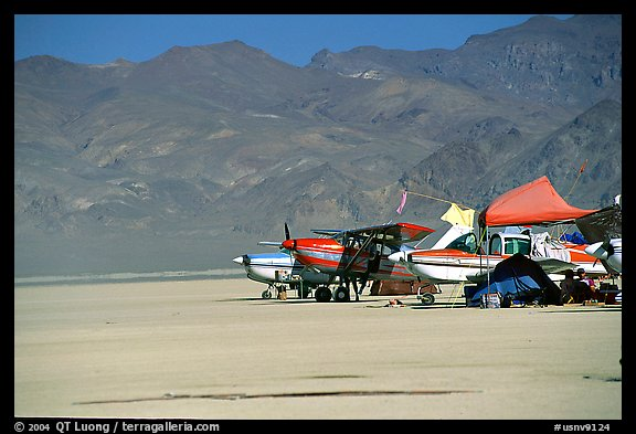 Private airplanes, Black Rock Desert. Nevada, USA (color)