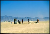 Line at the toilet, Black Rock Desert. Nevada, USA