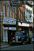 Old truck and storefronts. Virginia City, Nevada, USA
