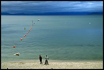 Men standing on beach under dark sky, South Lake Tahoe, California. USA (color)