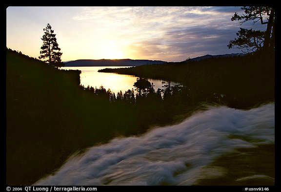 Water rushing down Eagle Falls, sunrise, Emerald Bay, California. USA (color)