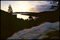Water rushing down Eagle Falls, sunrise, Emerald Bay, California. USA ( color)