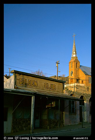 Golden Club and church, sunset, Austin. Nevada, USA (color)