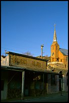 Golden Club and church, sunset, Austin. Nevada, USA