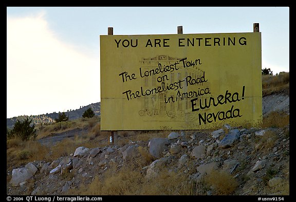 Loneliest town on the loneliest road sign. Nevada, USA (color)