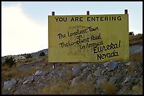 Loneliest town on the loneliest road sign. Nevada, USA