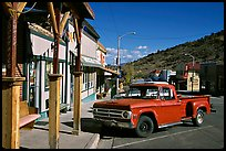 Red truck, main street, Pioche. Nevada, USA