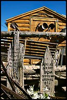 Cabin with old mining equipment, Pioche. Nevada, USA (color)