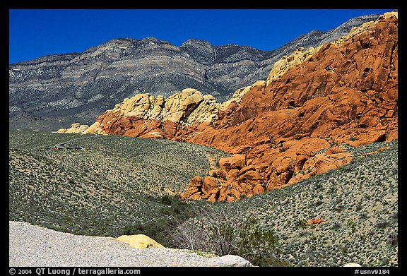 Red sandstone formations, and green hills, Red Rock Canyon. Red Rock Canyon, Nevada, USA (color)