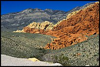 Red sandstone formations, and green hills, Red Rock Canyon. Red Rock Canyon, Nevada, USA