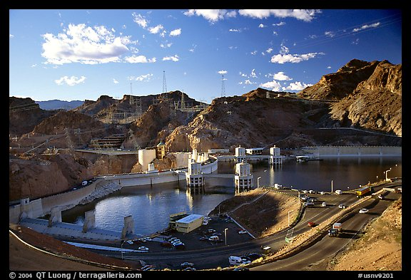 Reservoir and dam. Hoover Dam, Nevada and Arizona (color)