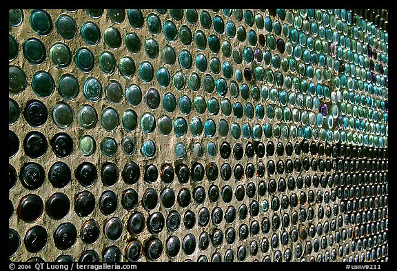 Detail of wall of the bottle house, Rhyolite. Nevada, USA (color)