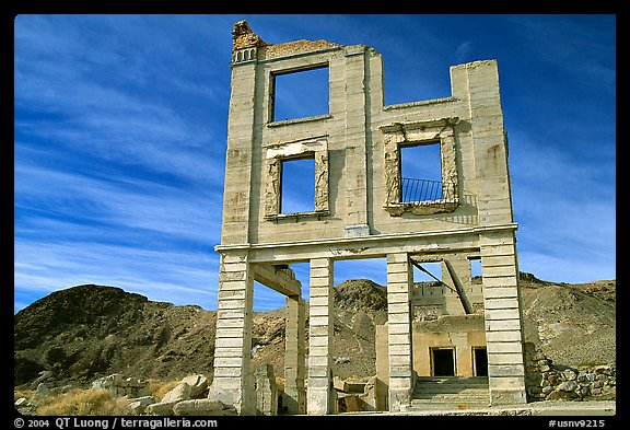 Ruins, Rhyolite ghost town. Nevada, USA (color)