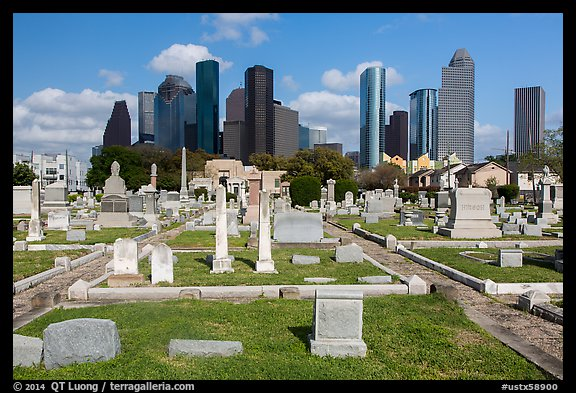 Congregation Beth Israel Cemetery and skyline. Houston, Texas, USA (color)